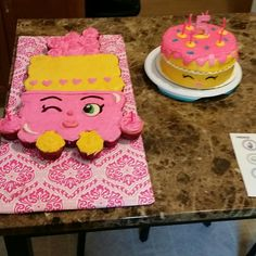 Shopkin Lippy Lipstick Cupcake cake and Wishes cake