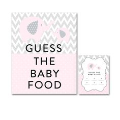 Baby Shower Pink Gray Chevron Elephant - Game Guess the Baby Food - Instant Download Printable