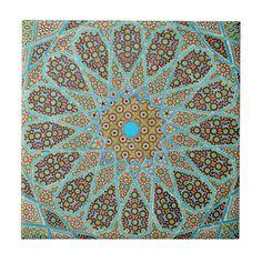 Persian oriental ornamental Islamic floral mosaic Small Square Tile