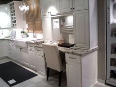 Kitchen workspace (cabinets around)  *drawers on one side?