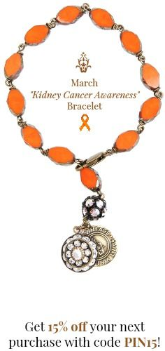 From one cancer warrior to another - a special Kidney Cancer Awareness Month bracelet! SV founder Paige Jansen-Nichols beat kidney cancer & wanted to create a one-of-a-kind bracelet for those affected by kidney cancer. Wear your story! @saintvintage #jewelryforacause