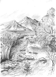 Scenery Drawing Pencil, Pencil Drawings Of Nature, Landscape Pencil Drawings, Realistic Pencil Drawings, Landscape Sketch, Nature Drawing, Amazing Drawings, Art Drawings Sketches Simple, Landscape Paintings