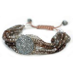 Jordan Alexander Seven-Strand Quartz and Pave Bracelet ($1,540) ❤ liked on Polyvore