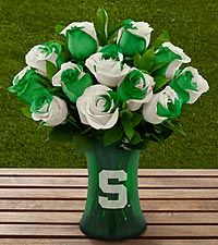 The FTD® Michigan State University Spartans® Rose Bouquet - 12 Stems - VASE INCLUDED