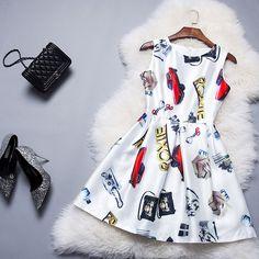 European Grand Prix 2015 New European And American Women's Fashion City Car Waist Print Dress --168