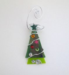 Green Irridescent Christmas Tree with by glassartelements on Etsy