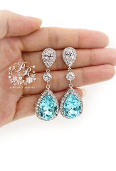 Wedding Necklace Earrings Swarovski Light by PureRainDesigns