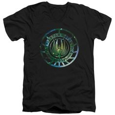 BATTLESTAR GALACTICA (NEW)/GALAXY EMBLEM-S/S ADULT V-NECK 30/1-BLACK