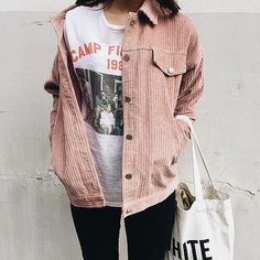 Shop your favorite Kawaii Pastel Corduroy Jacket.A pastel corduroy jacket is a style win for your casual look.They are wide at the waist giving you the freedom to move around them Look Fashion, Korean Fashion, Winter Fashion, Fashion Outfits, Fashion Trends, Street Fashion, Women's Fashion, Aesthetic Fashion, Fashion Ideas