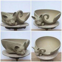 Cat yarn bowl reinterpreted. Unfired clay stage. b17a588d9567d2279acadaa9fd80077d