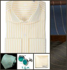 SHIRT/TIE COMBO: Westfield(Shirt)-Alibaba(Tie)-Abalone(Cufflinks)-Glass House(Pocket Square)-Suggested Suit Colors(Blue w/Tan Pinstripe & Gray w/Tan Pinstripe)-Suit Color On Right Side.