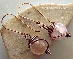 wire Wrapped Earrings - Zoraida Jewelry Made Out Of Marbles