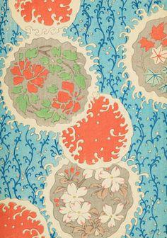 Shin Bijutsukai pattern Japanese aqua teal turquoise orange