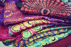 Silky Peacock Fabric, Hippie Tapestry, Bohemian Fabric, Chakra, Mandala, Rainbow, Bohemian Wedding, Festival, Summer. Prayer Flag, Garden