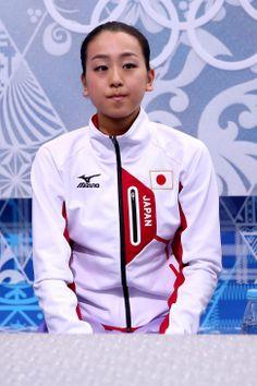 浅田真央が採点を待つ。フィギュアスケート女子ショートプログラム(ゲッティ=共同)