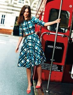 Blue and white lines three quarter sleeve dress
