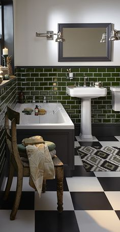 green bathroom Love the dark green wall tiles with the black and white chequered floor tiles in this art deco style bathroom. Cheap Bathroom Tiles, Modern Bathroom Tile, Bathroom Tile Designs, Simple Bathroom, Bathroom Flooring, Bathroom Remodeling, Bathroom Wall, Green Bathroom Tiles, Bathroom Ideas