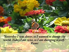 """""""Yesterday I was clever, so I wanted to change the world. Today I am wise, so I am changing myself."""" Rumi #quote"""