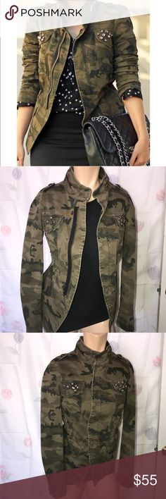 Zara camouflage jacket ! Size SMALL, has bling on two top from pockets none are missing. Has two front packets towards the bottom. Has a zipper and buttons. Also has a drawstring to adjust the waist of the jacket you can wear it normal or pull the drawstring to flatter your figure! Has beautiful top button detailing and a zipper at the neck. Very gently worn in excellent conditions! Zara Jackets & Coats
