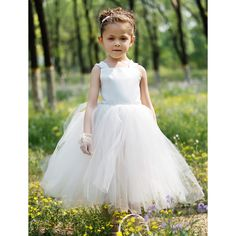 Ball Gown Bateau Tea-length Satin And Tulle Tutu Dress/Flower Girl Dress