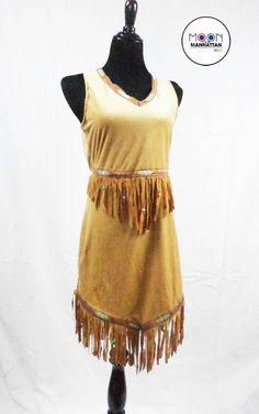 Womens Teens costume POCAHONTAS SQUAW INDIAN NATIVE AMERICAN Fringe Mini Dress M #Dress