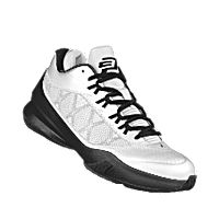THIS CHICAGO WHITE SOX SHOE IS COLORED WHITE AND BLACK.