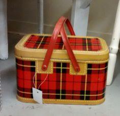 Vintage Skotch plaid tin picnic basket sold.