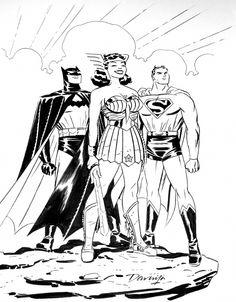 Darwyn Cooke Artwork | DC Trinity by Darwyn Cooke Comic Art Dc Comics Characters, Dc Comics Art, Dc Trinity, Catwoman, Batgirl, Comic Book Artists, Comic Artist, Comic Book Heroes, Comic Books Art