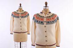 60s Handknit NORWEGIAN CARDIGAN / Vintage 1960s SWEATER Ivory, Blue & Red Scandinavian Wool, xs - s