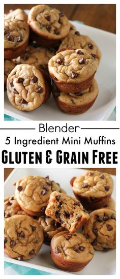 5 Ingredient Blender Mini Muffins (Gluten & Grain Free!) Bananas & Peanut Butter with mini chocolate chips. These take 5 minutes to make!