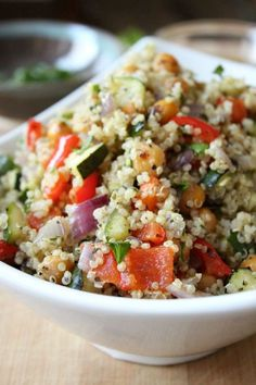 This Roasted Vegetable Quinoa Salad is delicious warm or cold!