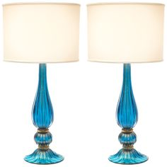 Murano Glass Sapphire & Gold Lamps | From a unique collection of antique and modern table lamps at https://www.1stdibs.com/furniture/lighting/table-lamps/