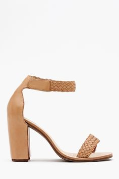 Nude Stacked Heel. Favor Sandal by Jeffrey Campbell