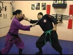 Purple gi for woman. Green belt for men