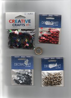 Bag of 4 x pkts assorted SEQUINS for sewing/card-making/Xmas ornament making etc Button Art, Button Crafts, Xmas Ornaments, How To Make Ornaments, Wooden Painting, Sewing Cards, Christmas Snowman, Card Making, Sequins