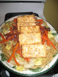 Sesame Orange Tofu $10 Healthy Meal Challenge #NoKidHungry #WalmartGiving Sauteed extra firm tofu with sesame seeds, sauce with 1/4 cup orange juice concentrate, soy sauce, garlic, sauteed carrots, cabbage and red onion, served over whole wheat thin spaghetti