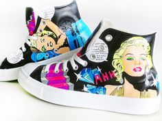 Marilyn Monroe Converse (Hand Painted) by PonkoWorld on Etsy https://www.etsy.com/listing/90477481/marilyn-monroe-converse-hand-painted