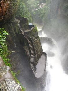 Waterfall hike in Banos, Ecuador >>> This looks like a crazy fun hike, apparently at some points you have to crawl!