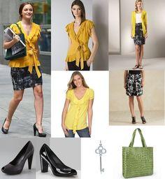 On Blair: Diane von Furstenberg 'Marcelo' Top, Vince Brushstroke Plaid Skirt, Vera Wang Lavender Label 'Falicita' Pumps, Valentino Embellished Tote, Tiffany & Co. Crown Key Pendant