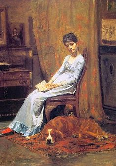 Thomas Eakins, 1844 - 1916, The Artist's Wife and His Setter Dog, c. 1884-88