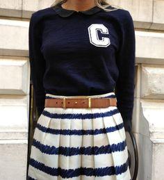 Nautical fashion stripes jcrew style nyc celine varsity letterman initial