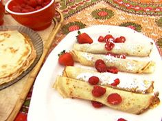 Hungarian Crepes: Palacsinta recipe from BBQ with Bobby Flay via Food Network. To gf, veganize Hungarian Cuisine, Hungarian Recipes, Hungarian Food, Hungarian Desserts, Hungarian Cookies, Lithuanian Food, Food Network Recipes, Cooking Recipes, Cooking Network