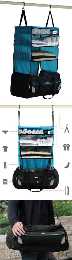 Rise and Hang // Forget unpacking, this clever weekender bag has built-in hanger shelves! Genius - I NEED this for travelling! #product_design