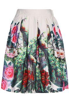 ROMWE Flower Print High Waist White Skirt