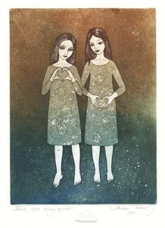 Twins by Marina Terauds, etching, aquatint