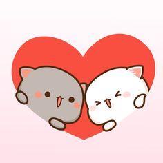 Cats With Brain Freeze Cute Bear Drawings, Cute Animal Drawings Kawaii, Cute Cartoon Drawings, Kawaii Drawings, Cute Anime Cat, Cute Cat Gif, Cute Love Memes, Cute Love Gif, Chibi Cat