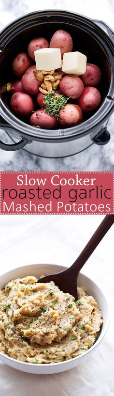 Slow Cooker Roasted Garlic Mashed Potatoes Recipe Little Spice Jar The BEST Classic Improved and Traditional Thanksgiving Dinner Menu Favorites Recipes Main Dishes Sid. Slow Cooker Roast, Slow Cooker Recipes, Cooking Recipes, Skillet Recipes, Cooking Games, Crockpot Meals, Cooking Classes, Grilling Recipes, Tasty Dishes
