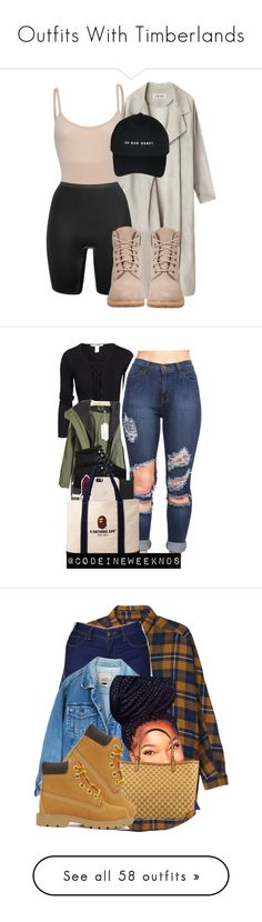 """""""Outfits With Timberlands"""" by barbiedatrillest ❤ liked on Polyvore featuring SPANX, Timberland, NLY Trend, UGG Australia, Topshop, MAC Cosmetics, A BATHING APE, beauty, Monki and Gucci"""