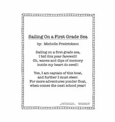 End of the Year - First Grade Poem