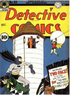 Detective Comics art by Jerry Robinson. The first cover appearance of Two-Face is also his second appearance in comics. The story is part two of the original Two-Face (Harvey Kent) trilogy by Bill Finger and Bob Kane. Detective Comics 1, Batman Detective, Robin Comics, Dc Comics Art, Batman Comic Books, Comic Books Art, Comic Art, Book Art, Marvel Comics Superheroes
